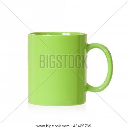 Green mug empty blank, isolated on white background