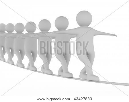 man balances on rope. Isolated 3D image