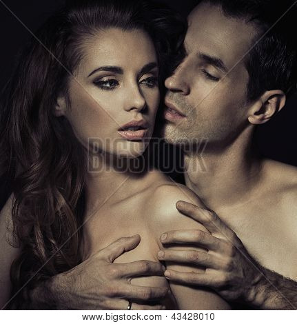 Sensual portrait of a loving couple