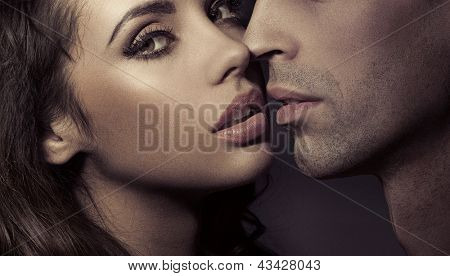 Close up portrait of a loving couple