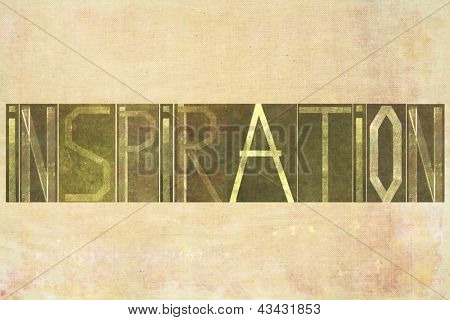 "Earthy background image and design element depicting the word ""Inspiration"""