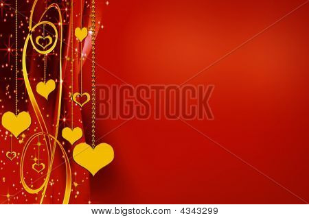 Elegant Golden And Red Backgrounds With Hearts And Stars