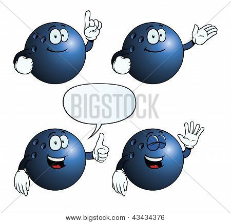 Smiling bowling ball set