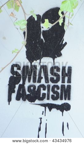 SALZBURG, AUSTRIA - SEPTEMBER 11, 2012: 'Smash Fascism' on September 11, 2012 in Salzburg, Austria.