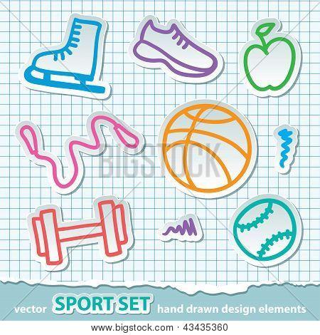 adesivos de esporte de mão desenhada, vetorial eps 10