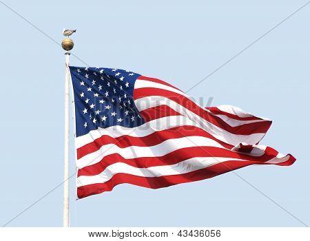 The American Flag Flies On A Sunny Day Against A Clear Blue Sky.