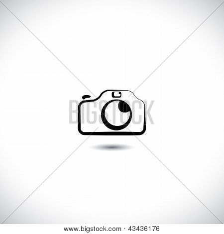 Illustration Of Digital Modern Camera With Flash Icon Symbol. The Graphic Shows The Photographic Equ
