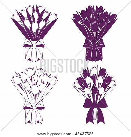 Tulip Bouquet Silhouette