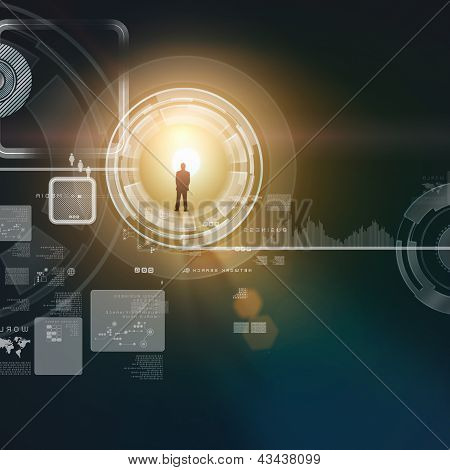 Businessman silhouette in media picture