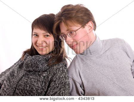 The Woman And The Man Have Leant Shoulders To Each Other