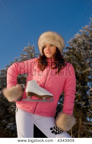 Sportive Woman In Pink Jacket