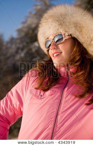 Smiling Brunette Watching Sunset