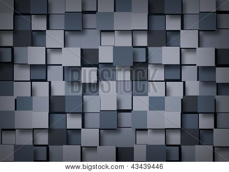 Abstract background of blue-gray cubes