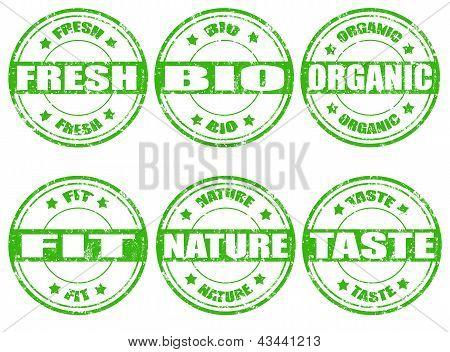 Set Of Green Natural Stamps