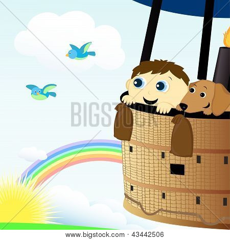 Boy And Dog In A Hot Air Balloon