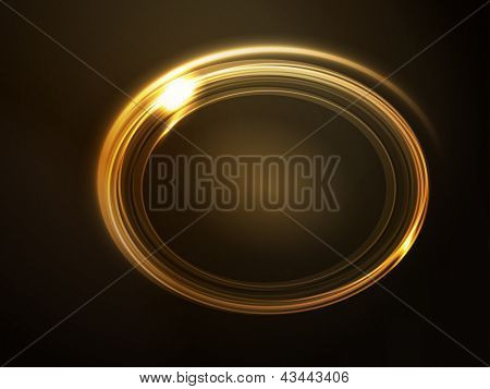 Oval placeholder, frame with light effects in shades of gold and yellow on dark brown background. Space for your text. EPS10