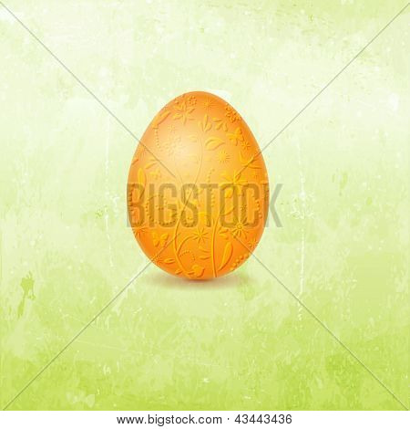 Brightly colored orange Easter egg with floral pattern containing butterflies, flowers, birds and various other design elements on distressed background in shades of light to dark spring green.