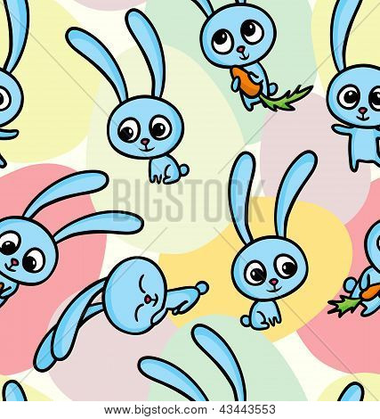 Easter Bunnies On Seamless Pattern Background