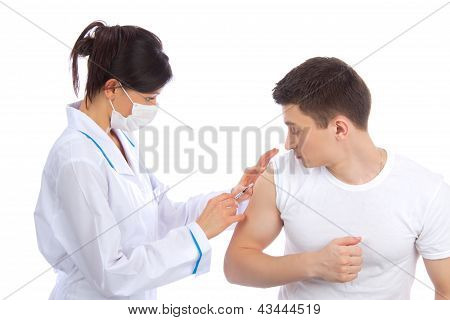 Doctor Woman In Mask Give Flu Vaccination