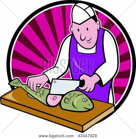Bsushi Chef Butcher Fishmonger Cartoon
