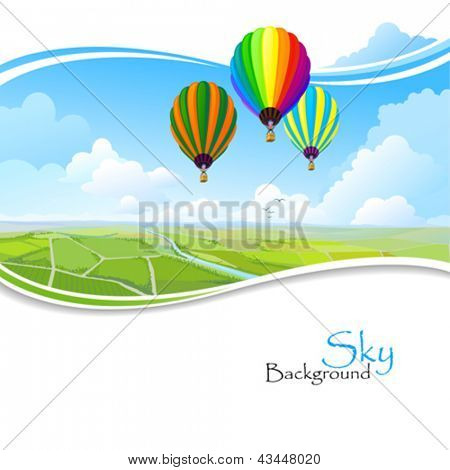 Hot air balloons , Blue sky and Green fields