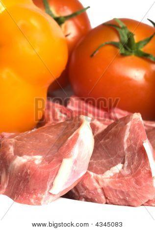 Rib Lamb Chops With Vegetables Tomato