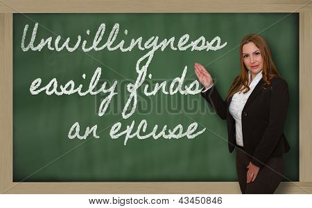 Teacher Showing Unwillingness Easily Finds An Excuse On Blackboard
