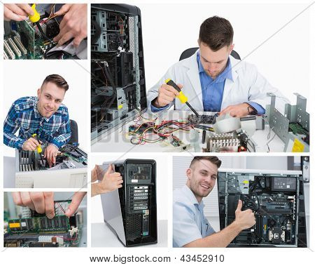 Collage of smiling handsome computer technician at work
