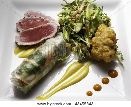 Ahi and Spring Roll