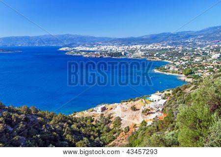 Mirabello Bay with Agios Nikolaos town on Crete, Greece