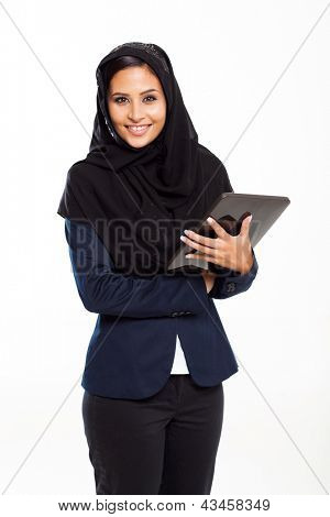 cute Arabian businesswoman with tablet computer isolated on white