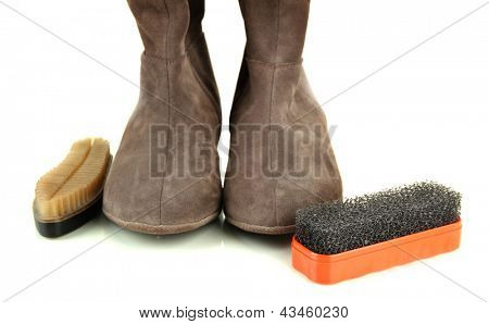 Brushes for suede shoes and female boots, isolated on white