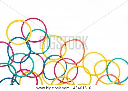 Writing Elastic Bands On A White Background