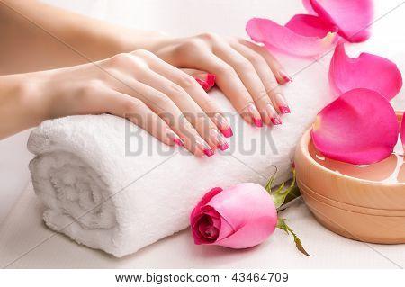 Linda manicure rosa com pétalas de rosas perfumadas e toalha. Spa