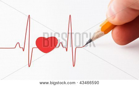 Red heart with a beats line and a pencil