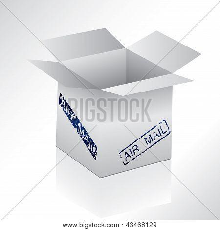 Cuadro gris con sello de correo de aire
