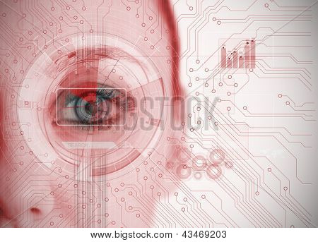 Close up of woman eye analyzing chart interface with circuit board background in red