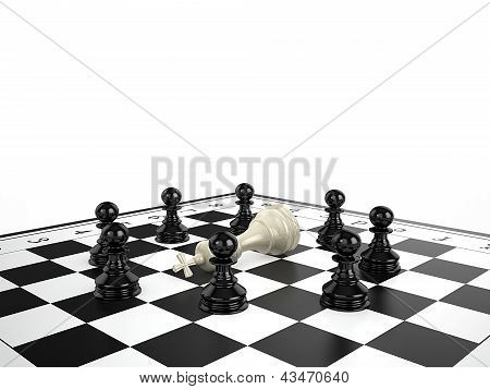The White Chess King Lies Surrounded By Black Chess Pawns On A Chessboard