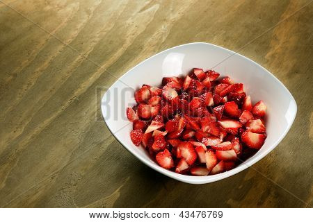 Sliced Strawberries In A Bowl
