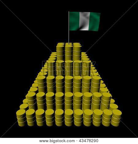 Stack of oil barrels with Nigerian flag illustration