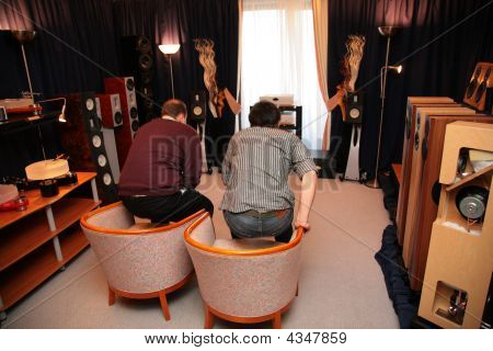Two Men In Room With Hi-end Audio System