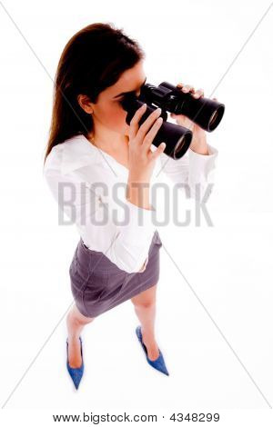 Top View Of Businesswoman Looking Through Binocular