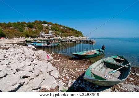 Boats on the Skadar lake shore