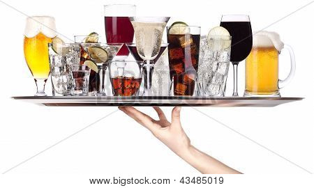 Different Alcohol Drinks On A Tray