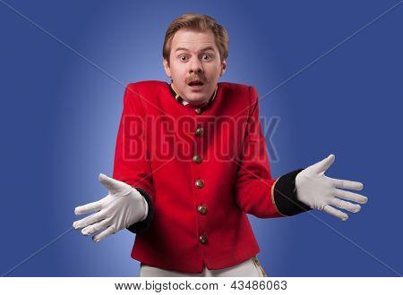 Portrait of  surprised concierge (porter)
