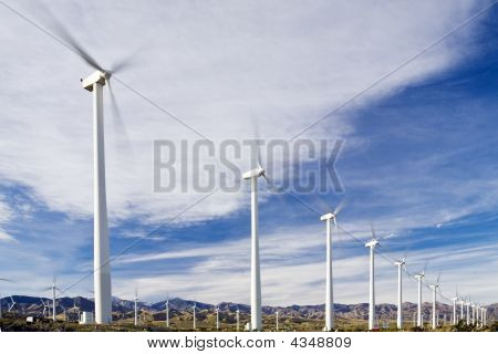 Wind Farm Near Palm Springs In Southern California