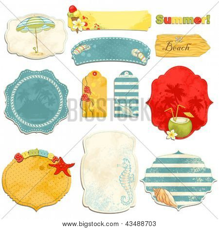 Collection of vintage labels with summer symbols with an empty seat for your text.