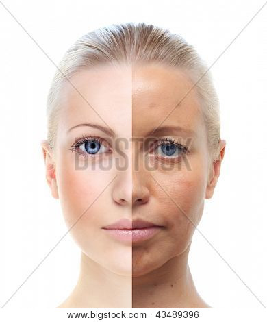 Woman's portrait isolated on white, 20 and 40 years old.