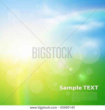 Green, sunny natural  background, vector illustration.