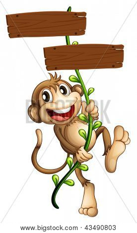Illustration of a monkey holding the two wooden signboards on a white background
